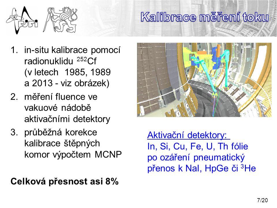 7/20 1.in-situ kalibrace pomocí radionuklidu 252 Cf (v letech 1985, 1989 a 2013 - viz obrázek) 2.měření fluence ve vakuové nádobě aktivačními detektory 3.průběžná korekce kalibrace štěpných komor výpočtem MCNP Celková přesnost asi 8% Aktivační detektory: In, Si, Cu, Fe, U, Th fólie po ozáření pneumatický přenos k NaI, HpGe či 3 He