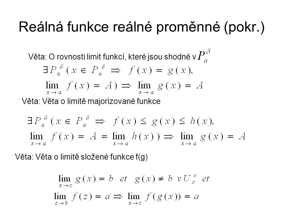 Reálná funkce reálné proměnné (pokr.) Věta: O rovnosti limit funkcí, které jsou shodné v Věta: Věta o limitě majorizované funkce Věta: Věta o limitě složené funkce f(g)