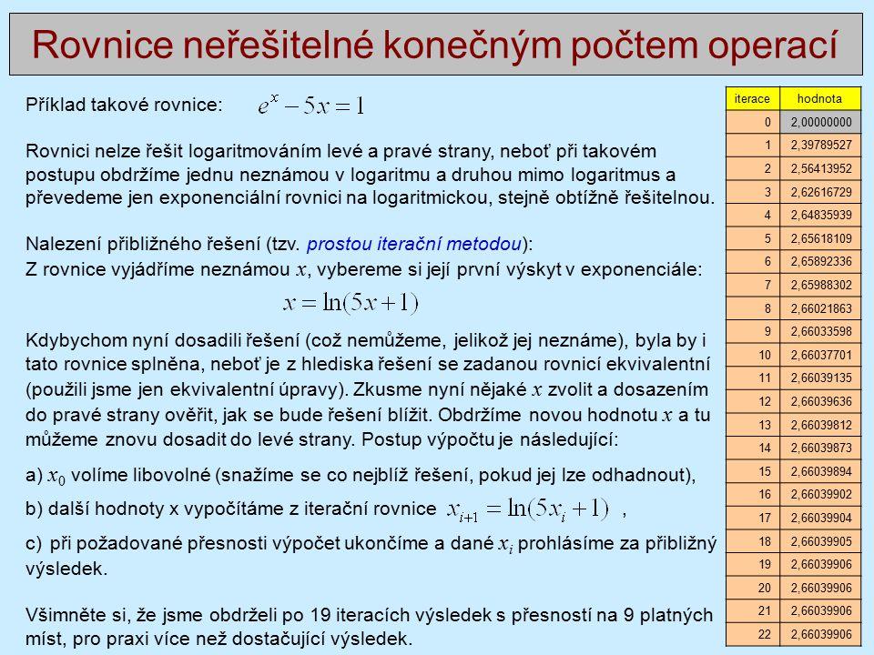 Příklad takové rovnice: Rovnici nelze řešit logaritmováním levé a pravé strany, neboť při takovém postupu obdržíme jednu neznámou v logaritmu a druhou