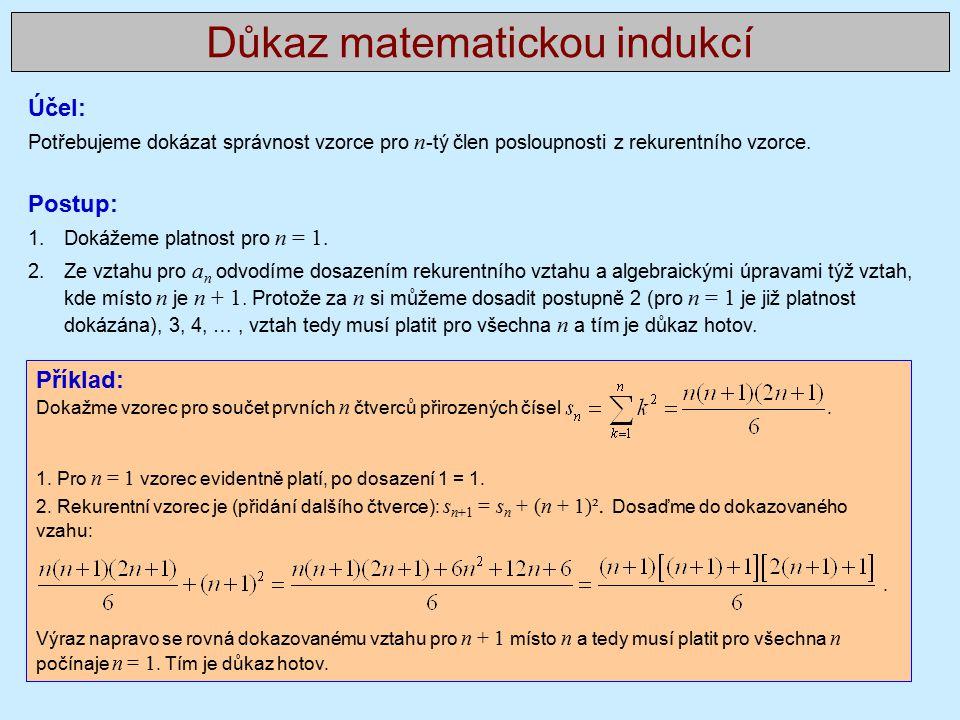 Příklad: Dokažme vzorec pro součet prvních n čtverců přirozených čísel.