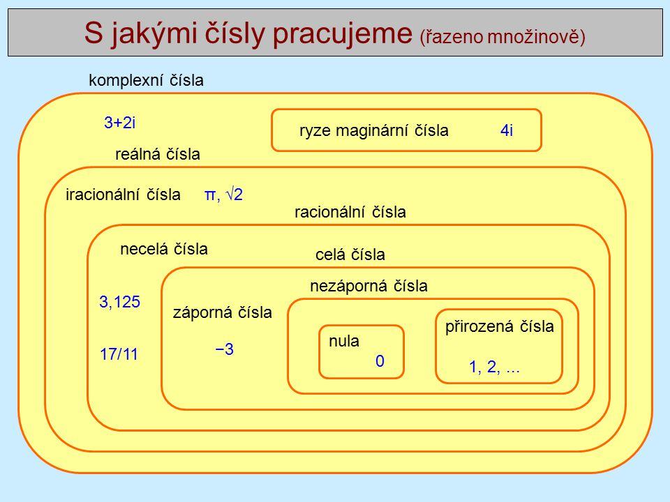 iracionální čísla π, √2 S jakými čísly pracujeme (řazeno množinově) ryze maginární čísla 4i reálná čísla komplexní čísla celá čísla racionální čísla 3+2i necelá čísla 3,125 17/11 −3 záporná čísla 1, 2,...