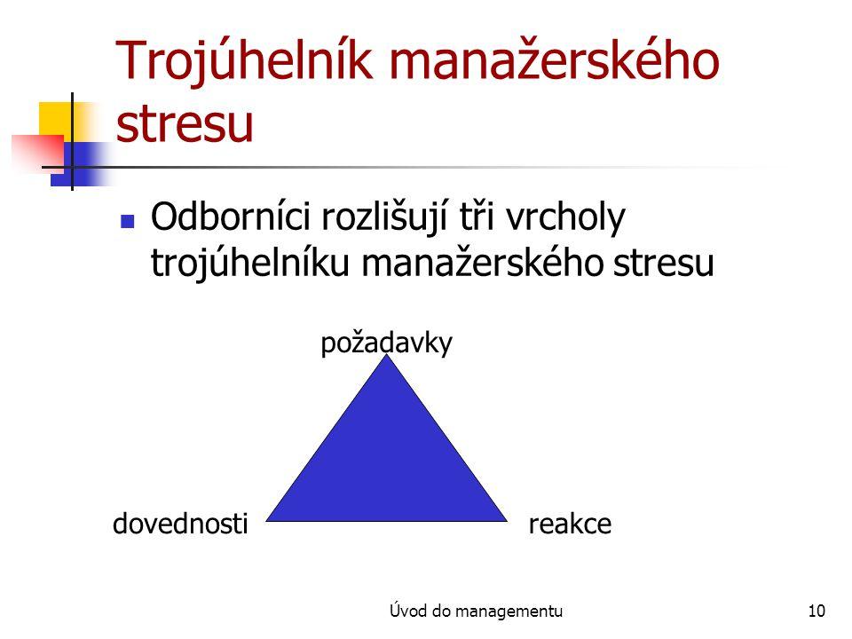 Úvod do managementu10 Trojúhelník manažerského stresu Odborníci rozlišují tři vrcholy trojúhelníku manažerského stresu požadavky dovednostireakce