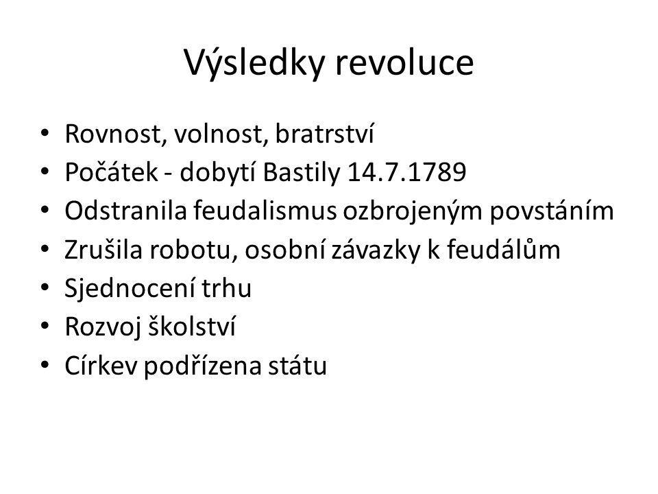 Výsledky revoluce Rovnost, volnost, bratrství Počátek - dobytí Bastily 14.7.1789 Odstranila feudalismus ozbrojeným povstáním Zrušila robotu, osobní zá
