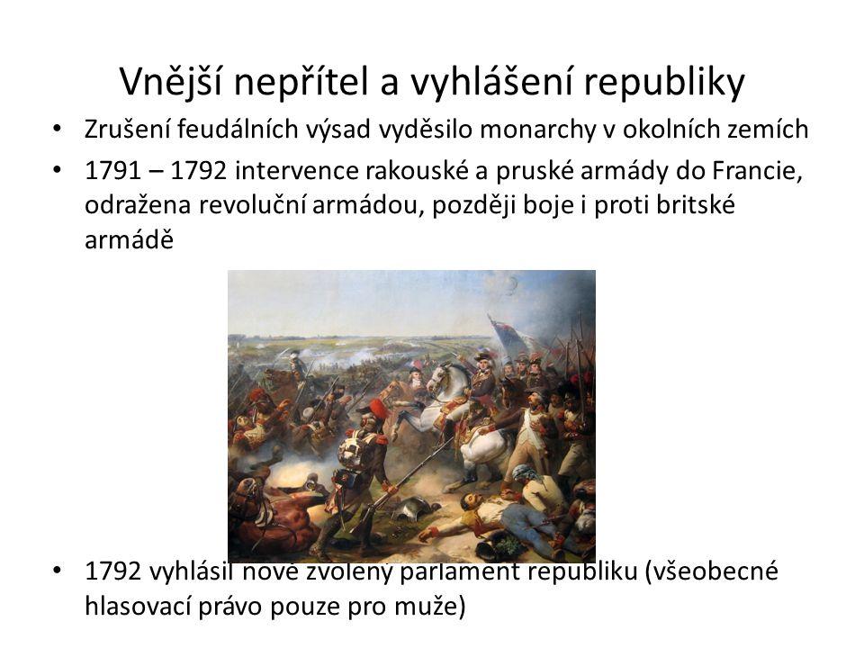 Vnější nepřítel a vyhlášení republiky Zrušení feudálních výsad vyděsilo monarchy v okolních zemích 1791 – 1792 intervence rakouské a pruské armády do