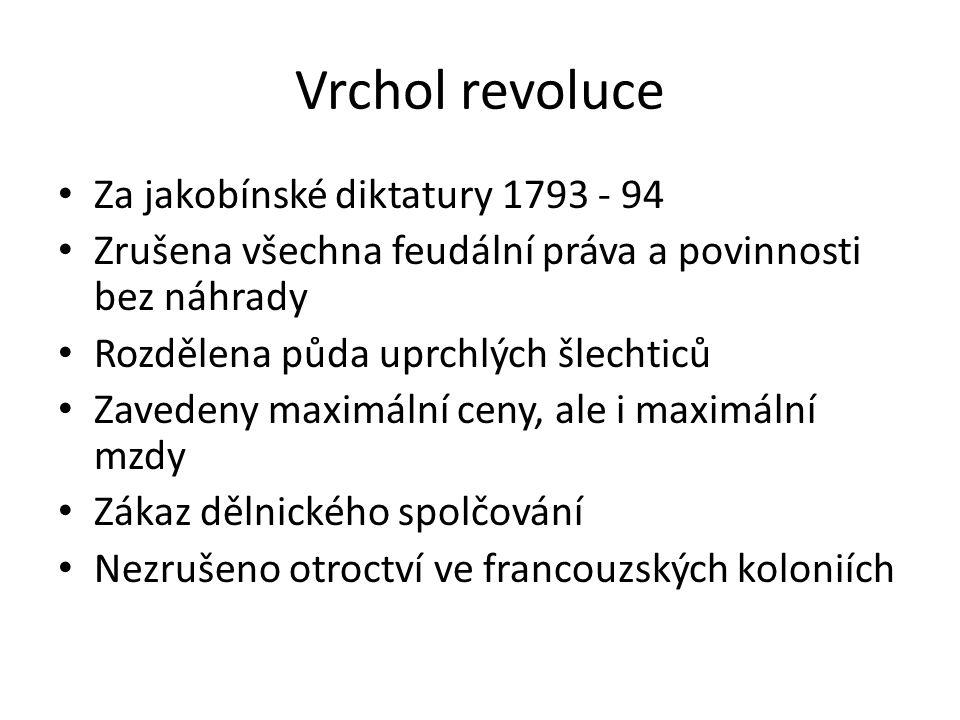 Vrchol revoluce Za jakobínské diktatury 1793 - 94 Zrušena všechna feudální práva a povinnosti bez náhrady Rozdělena půda uprchlých šlechticů Zavedeny