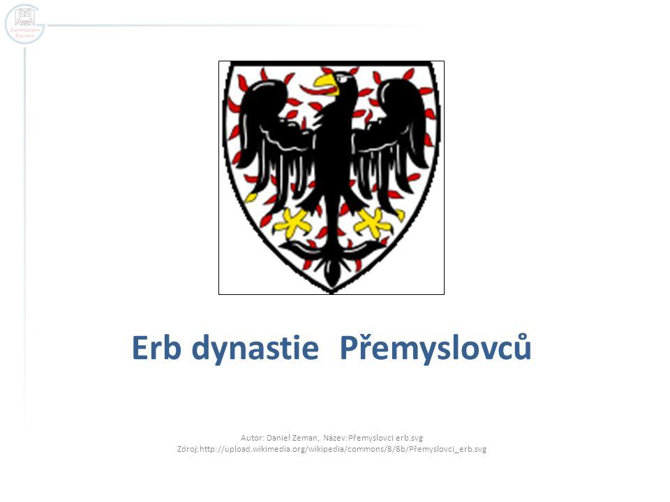Erb dynastie Přemyslovců Autor: Daniel Zeman, Název:Přemyslovci erb.svg Zdroj:http://upload.wikimedia.org/wikipedia/commons/8/8b/Přemyslovci_erb.svg