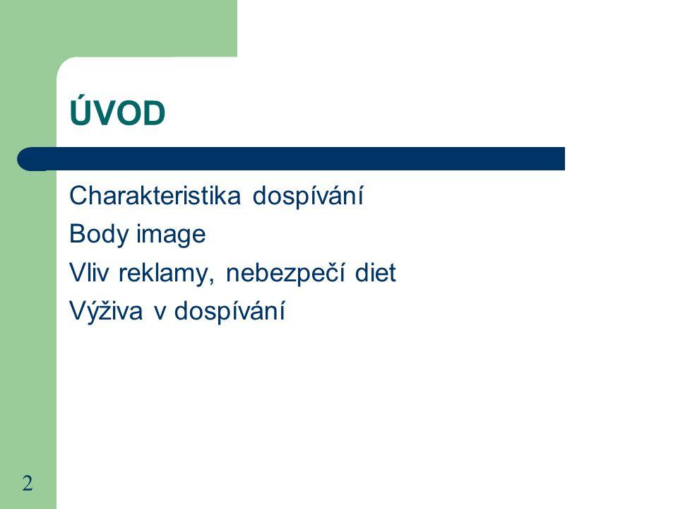 2 ÚVOD Charakteristika dospívání Body image Vliv reklamy, nebezpečí diet Výživa v dospívání