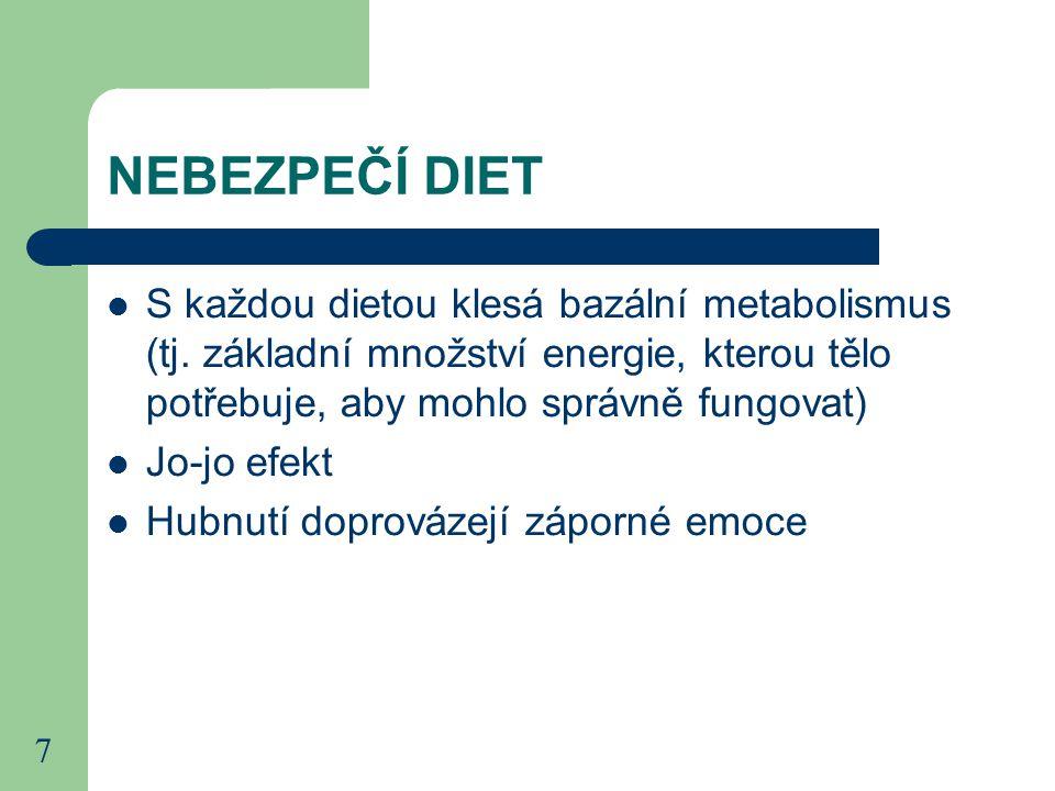 7 NEBEZPEČÍ DIET S každou dietou klesá bazální metabolismus (tj.