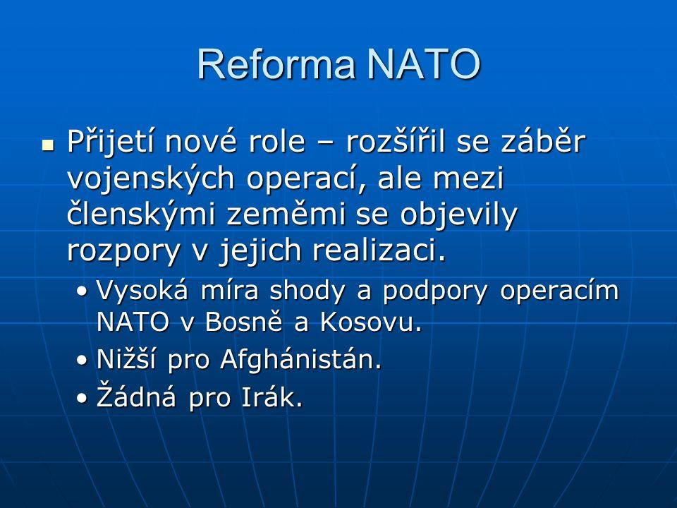 Reforma NATO Přijetí nové role – rozšířil se záběr vojenských operací, ale mezi členskými zeměmi se objevily rozpory v jejich realizaci. Přijetí nové