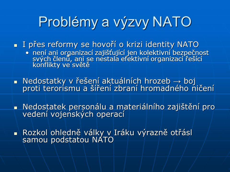 Problémy a výzvy NATO I přes reformy se hovoří o krizi identity NATO I přes reformy se hovoří o krizi identity NATO není ani organizací zajišťující je