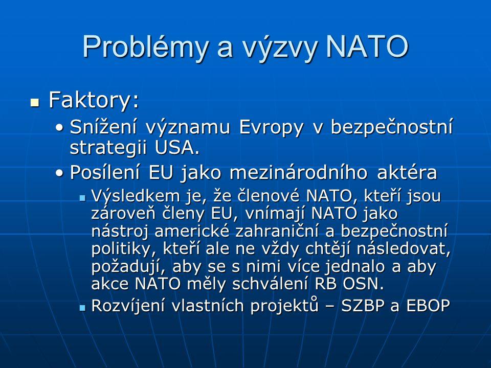 Problémy a výzvy NATO Faktory: Faktory: Snížení významu Evropy v bezpečnostní strategii USA.Snížení významu Evropy v bezpečnostní strategii USA. Posíl