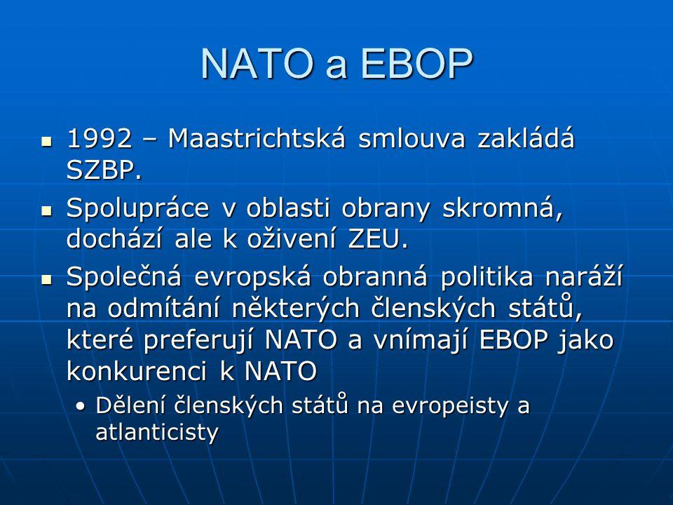 NATO a EBOP 1992 – Maastrichtská smlouva zakládá SZBP. 1992 – Maastrichtská smlouva zakládá SZBP. Spolupráce v oblasti obrany skromná, dochází ale k o