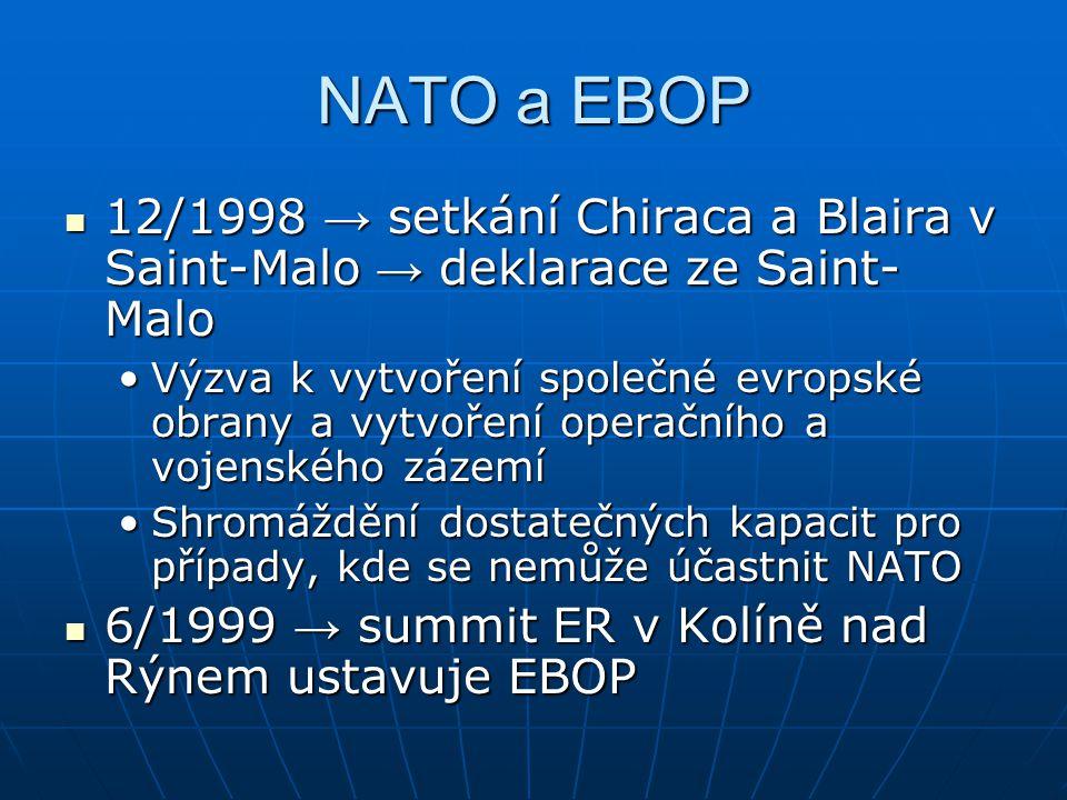 NATO a EBOP 12/1998 → setkání Chiraca a Blaira v Saint-Malo → deklarace ze Saint- Malo 12/1998 → setkání Chiraca a Blaira v Saint-Malo → deklarace ze