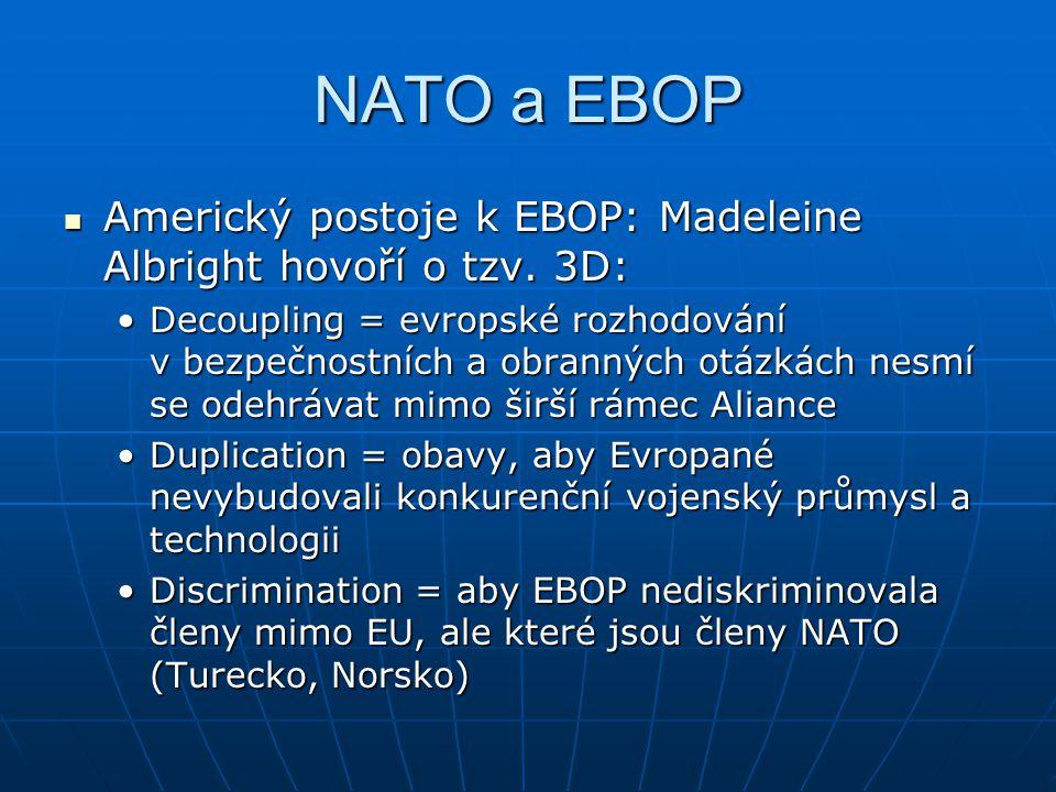 NATO a EBOP Americký postoje k EBOP: Madeleine Albright hovoří o tzv. 3D: Americký postoje k EBOP: Madeleine Albright hovoří o tzv. 3D: Decoupling = e