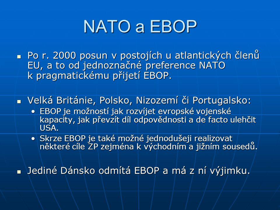 NATO a EBOP Po r. 2000 posun v postojích u atlantických členů EU, a to od jednoznačné preference NATO k pragmatickému přijetí EBOP. Po r. 2000 posun v