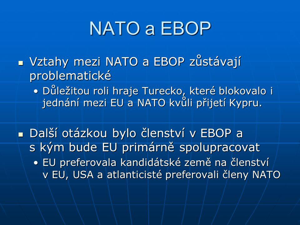 NATO a EBOP Vztahy mezi NATO a EBOP zůstávají problematické Vztahy mezi NATO a EBOP zůstávají problematické Důležitou roli hraje Turecko, které blokov