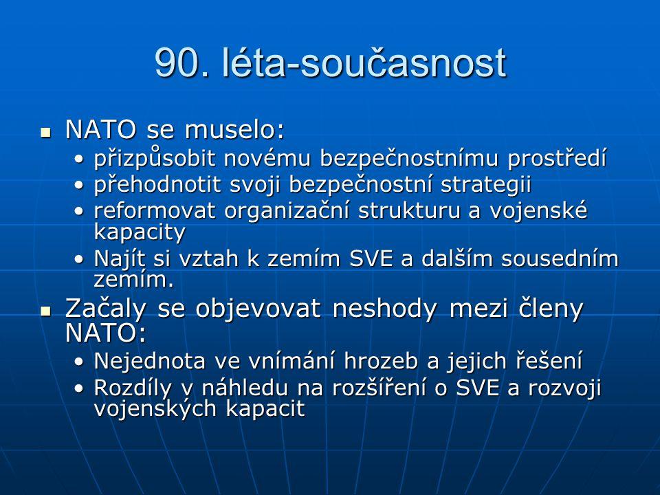 90. léta-současnost NATO se muselo: NATO se muselo: přizpůsobit novému bezpečnostnímu prostředípřizpůsobit novému bezpečnostnímu prostředí přehodnotit