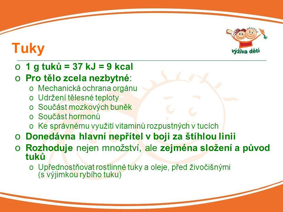 Bílkoviny o 1 g = 17 kJ = 4 kcal o Většinou ne jako zdroj energie o Nezbytné oStavební látky oPro metabolické pochody v těle oPřenašeče oPro imunitní reakce o Minimálně 50 % bílkovin ve stravě dětí by mělo být živočišného původu (maso, mléko, mléčné výrobky, vejce)