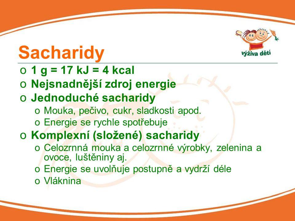Sacharidy o 1 g = 17 kJ = 4 kcal o Nejsnadnější zdroj energie o Jednoduché sacharidy oMouka, pečivo, cukr, sladkosti apod.