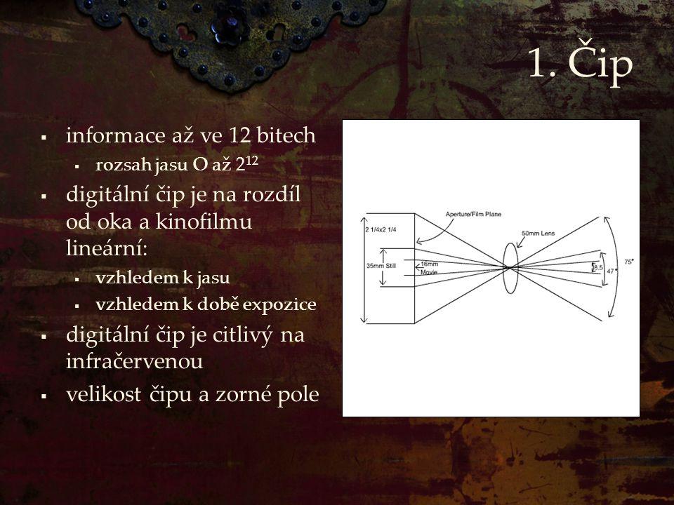 1. Čip  informace až ve 12 bitech  rozsah jasu O až 2 12  digitální čip je na rozdíl od oka a kinofilmu lineární:  vzhledem k jasu  vzhledem k do