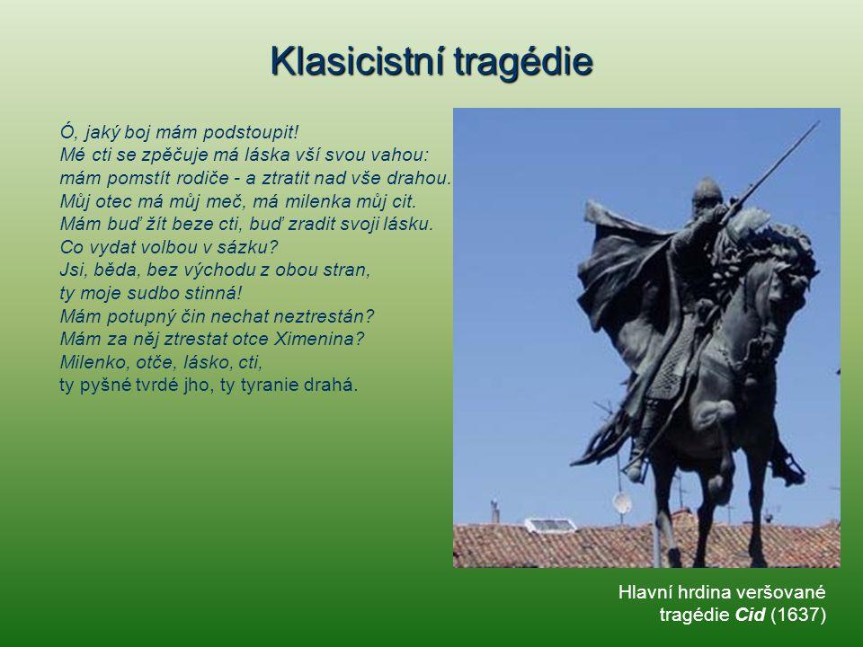 """Klasicistní tragédie Jean Racine (1639 - 1699) """"Krvavá veršovaná tragédie Faidra (1677) námět převzala z Eurípidova Hippolyta."""