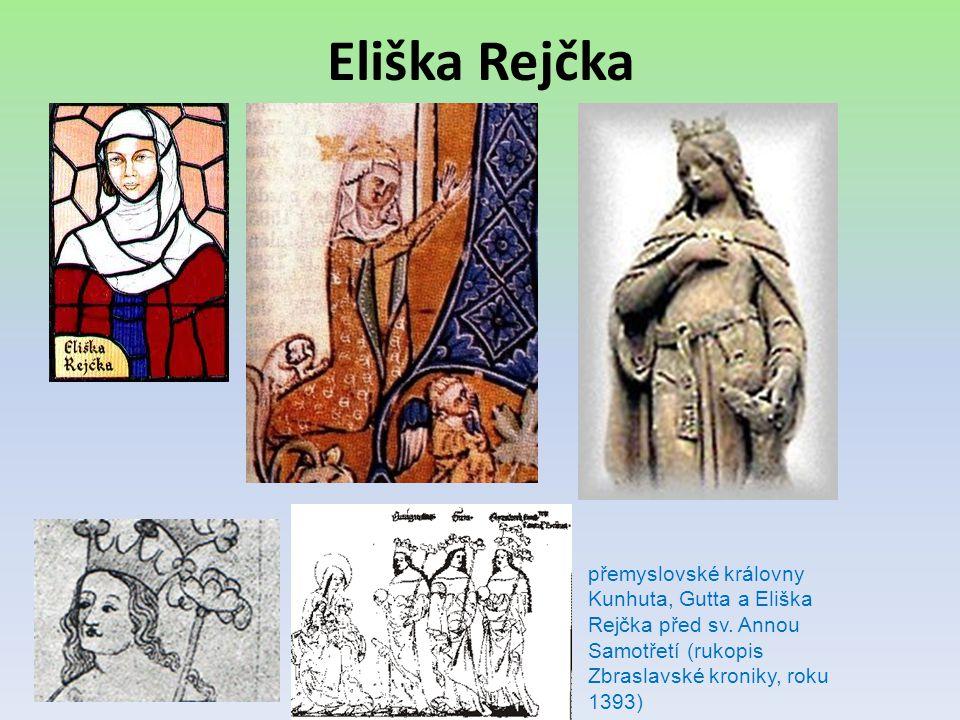 Eliška Rejčka přemyslovské královny Kunhuta, Gutta a Eliška Rejčka před sv. Annou Samotřetí (rukopis Zbraslavské kroniky, roku 1393)