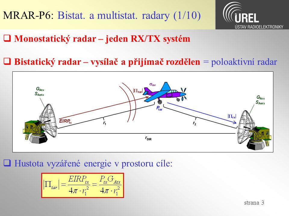 strana 3  Monostatický radar – jeden RX/TX systém  Bistatický radar – vysílač a přijímač rozdělen = poloaktivní radar MRAR-P6: Bistat.