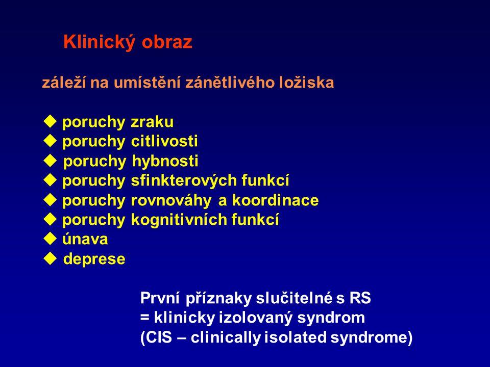 Klinický obraz záleží na umístění zánětlivého ložiska  poruchy zraku  poruchy citlivosti  poruchy hybnosti  poruchy sfinkterových funkcí  poruchy