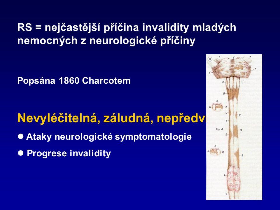 RS = nejčastější příčina invalidity mladých nemocných z neurologické příčiny Popsána 1860 Charcotem Nevyléčitelná, záludná, nepředvídatelná Ataky neur
