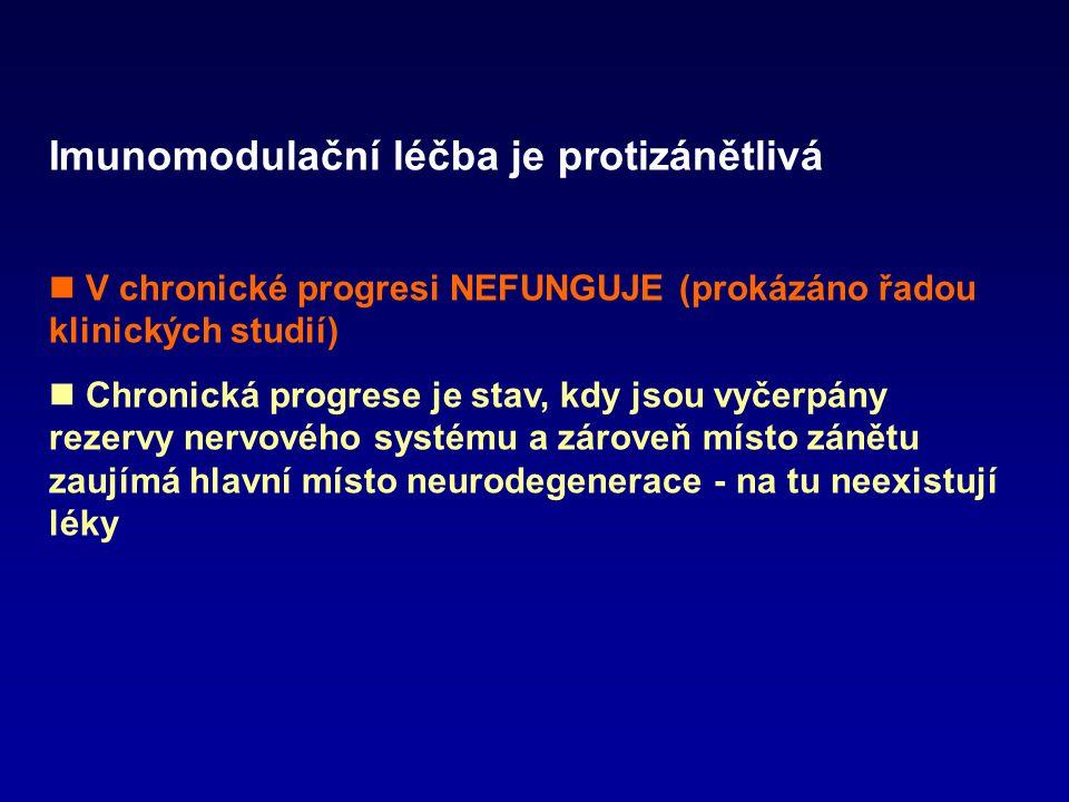 Imunomodulační léčba je protizánětlivá V chronické progresi NEFUNGUJE (prokázáno řadou klinických studií) Chronická progrese je stav, kdy jsou vyčerpá