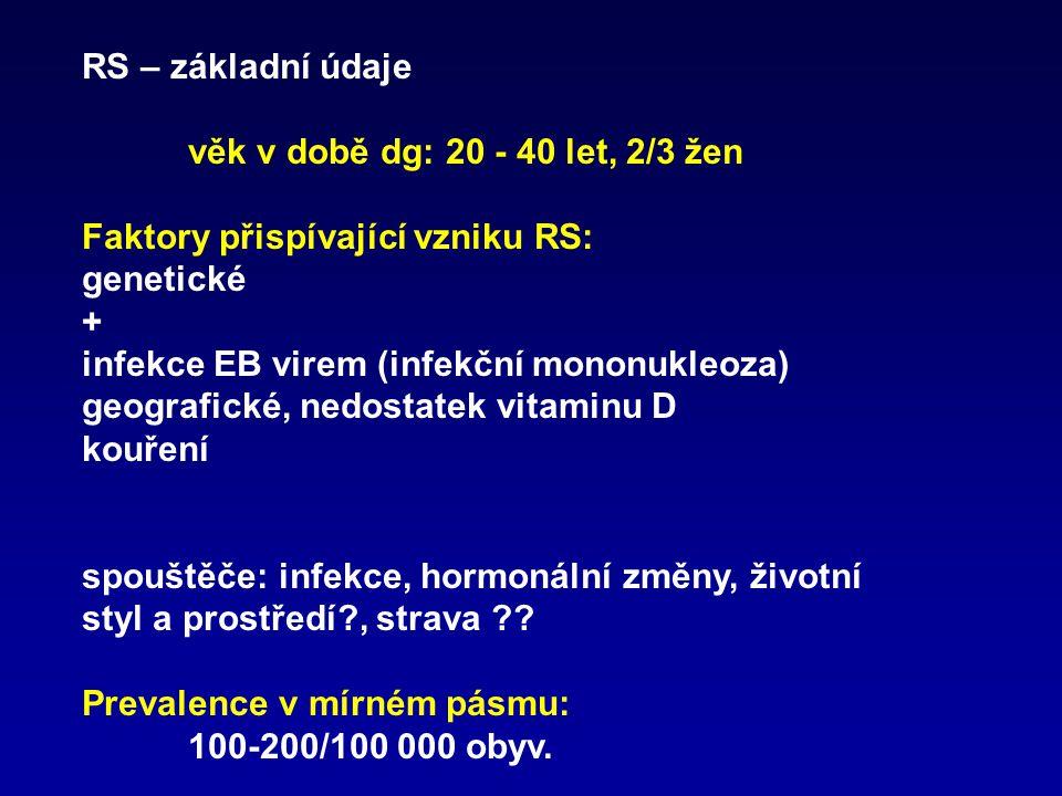 RS – základní údaje věk v době dg: 20 - 40 let, 2/3 žen Faktory přispívající vzniku RS: genetické + infekce EB virem (infekční mononukleoza) geografic