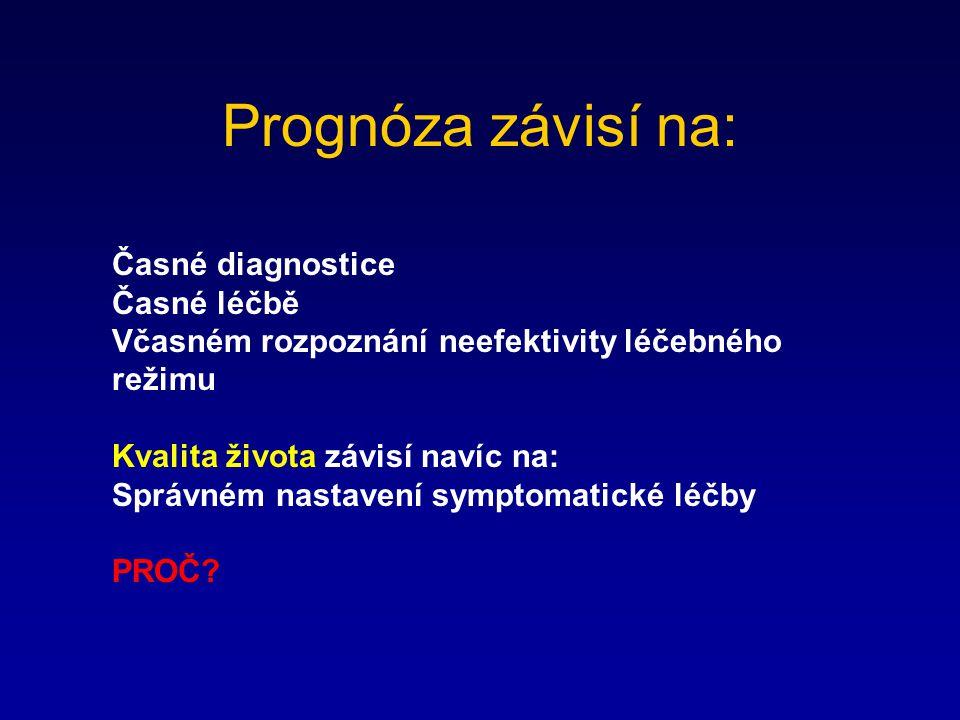 Prognóza závisí na: Časné diagnostice Časné léčbě Včasném rozpoznání neefektivity léčebného režimu Kvalita života závisí navíc na: Správném nastavení