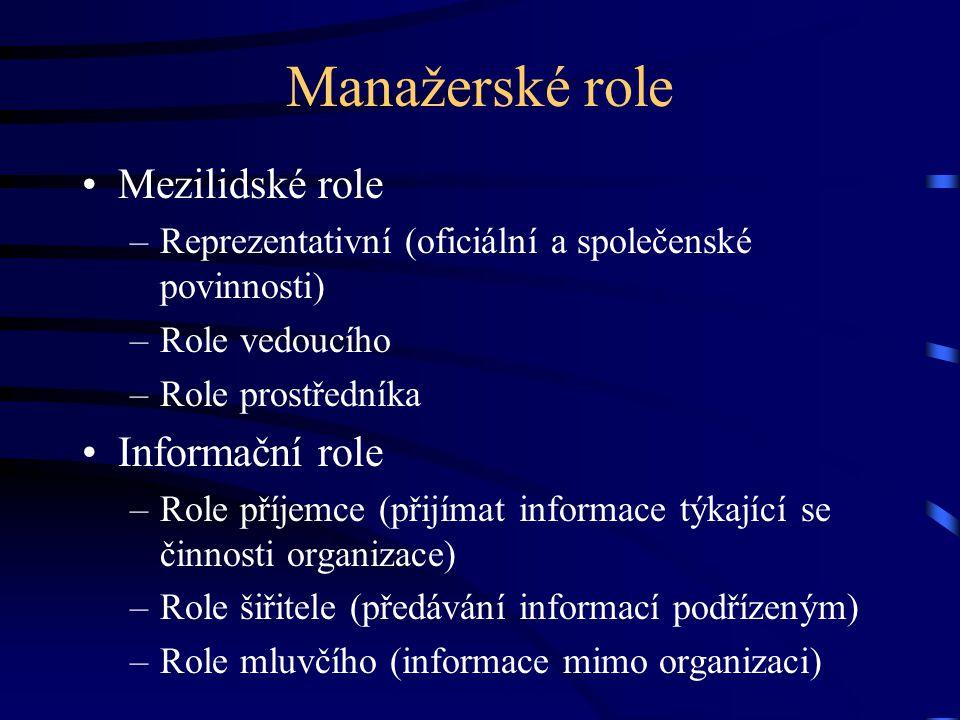 Manažerské role Mezilidské role –Reprezentativní (oficiální a společenské povinnosti) –Role vedoucího –Role prostředníka Informační role –Role příjemc