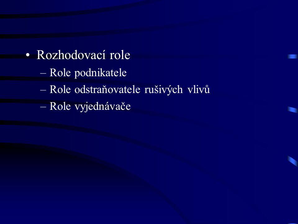 Rozhodovací role –Role podnikatele –Role odstraňovatele rušivých vlivů –Role vyjednávače