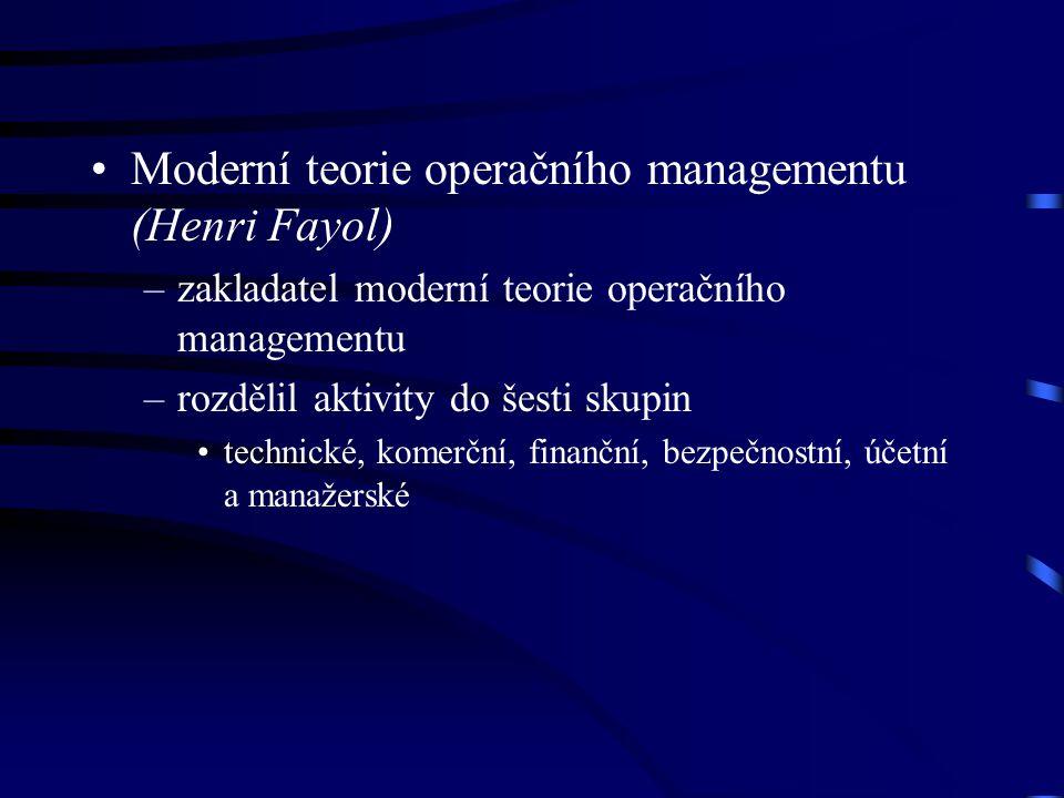Moderní teorie operačního managementu (Henri Fayol) –zakladatel moderní teorie operačního managementu –rozdělil aktivity do šesti skupin technické, ko