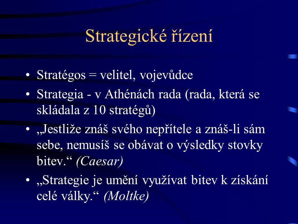 """Strategické řízení Stratégos = velitel, vojevůdce Strategia - v Athénách rada (rada, která se skládala z 10 stratégů) """"Jestliže znáš svého nepřítele a"""