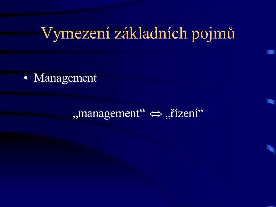 """Vymezení základních pojmů Management """"management""""  """"řízení"""""""