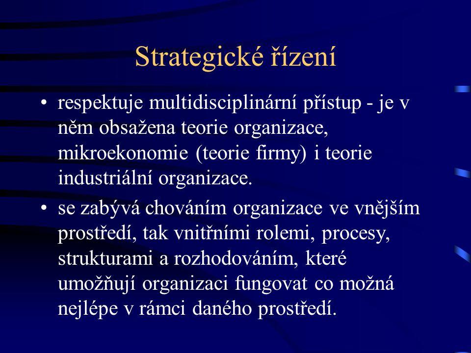 Strategické řízení respektuje multidisciplinární přístup - je v něm obsažena teorie organizace, mikroekonomie (teorie firmy) i teorie industriální org