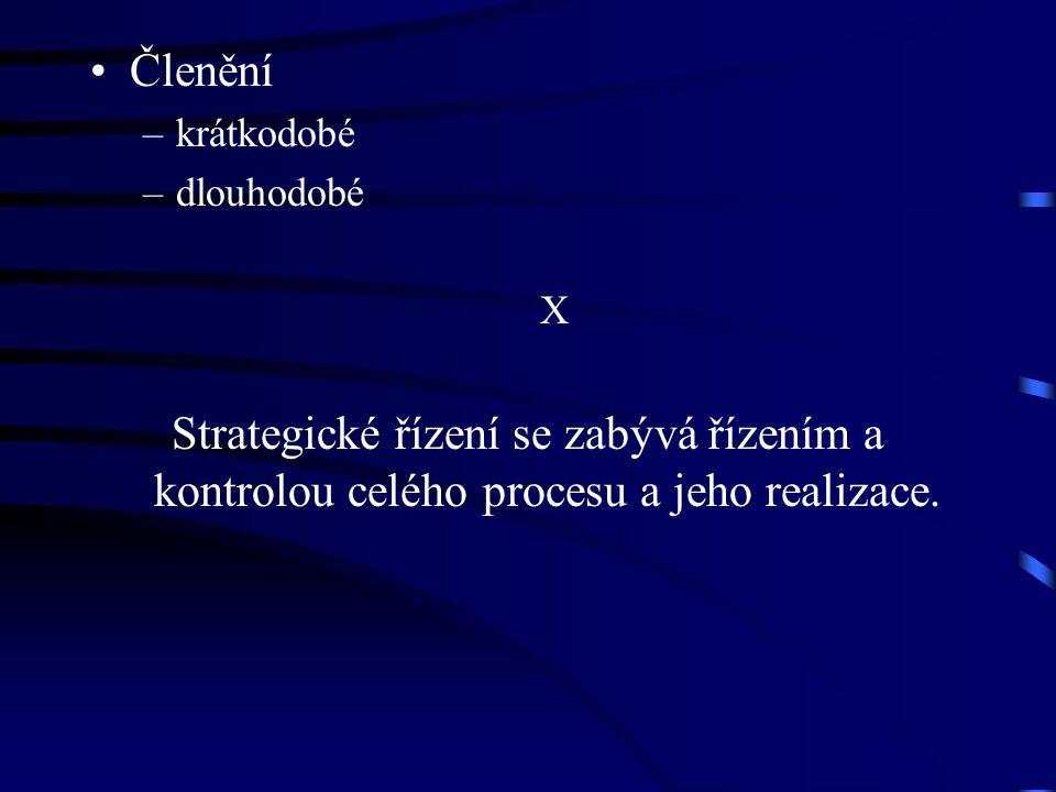 Členění –krátkodobé –dlouhodobé X Strategické řízení se zabývá řízením a kontrolou celého procesu a jeho realizace.