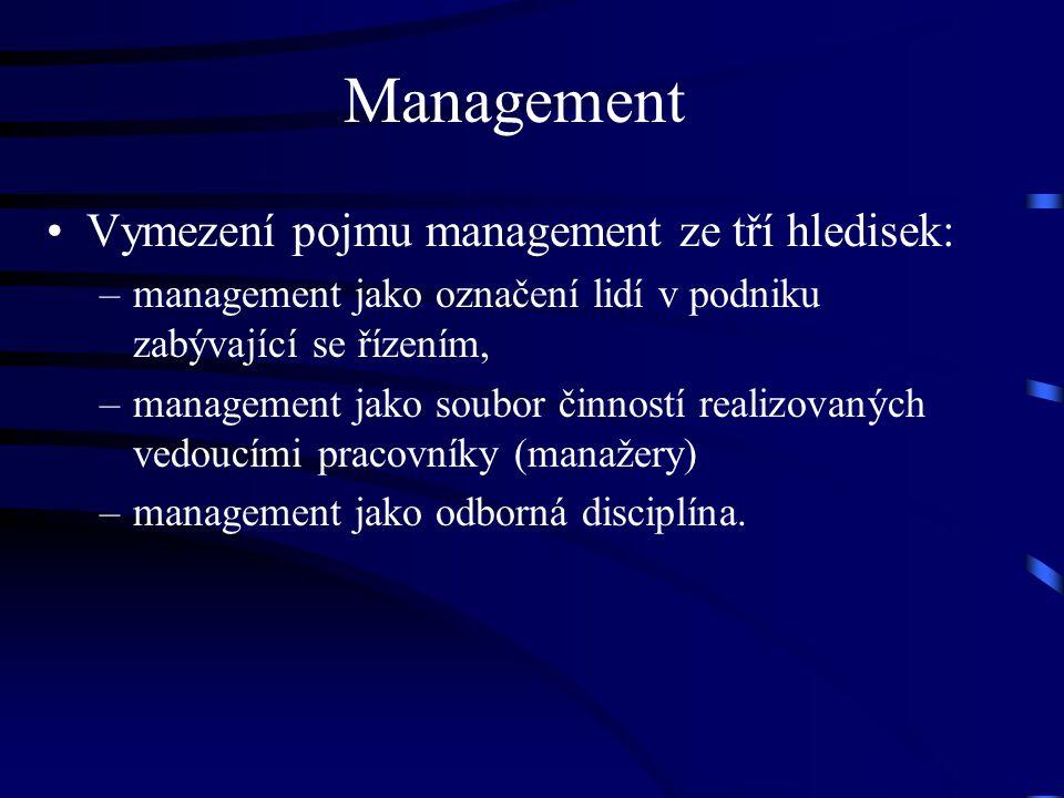 Vymezení pojmu management ze tří hledisek: –management jako označení lidí v podniku zabývající se řízením, –management jako soubor činností realizovan