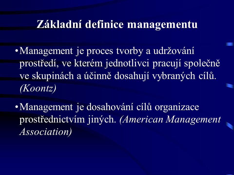 Základní definice managementu Management je proces tvorby a udržování prostředí, ve kterém jednotlivci pracují společně ve skupinách a účinně dosahují