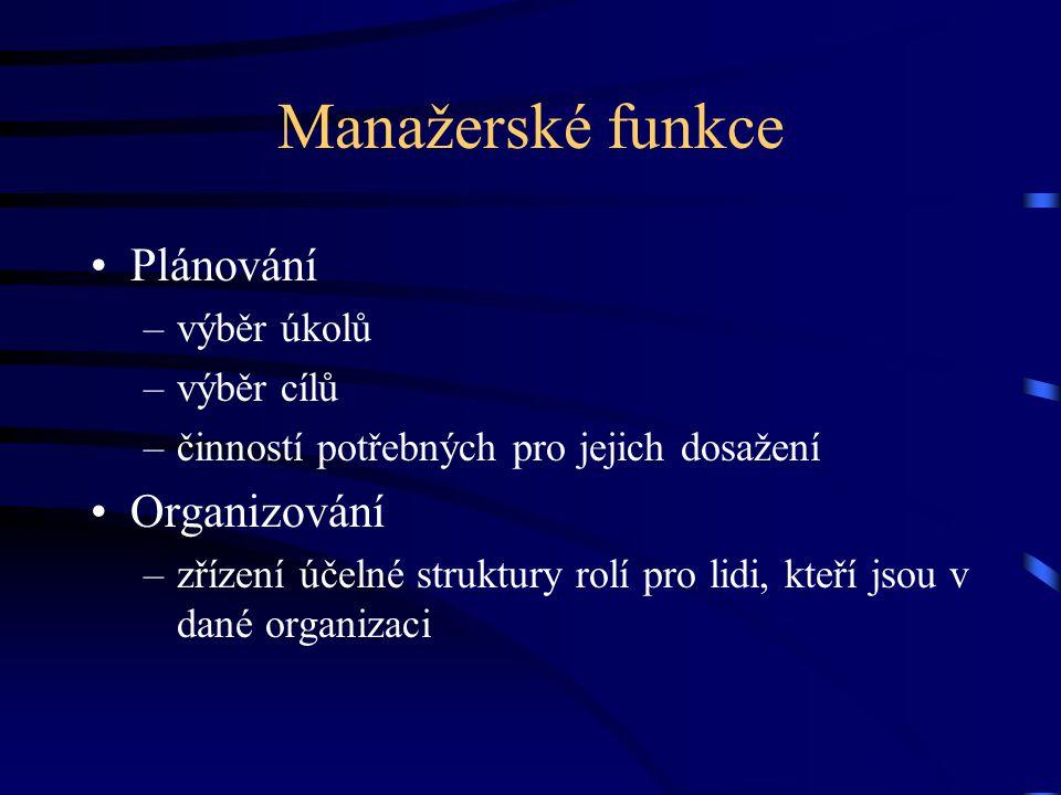 Manažerské funkce Plánování –výběr úkolů –výběr cílů –činností potřebných pro jejich dosažení Organizování –zřízení účelné struktury rolí pro lidi, kt