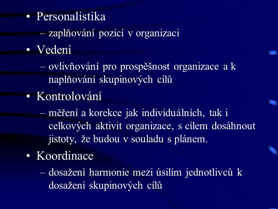 Personalistika –zaplňování pozicí v organizaci Vedení –ovlivňování pro prospěšnost organizace a k naplňování skupinových cílů Kontrolování –měření a k