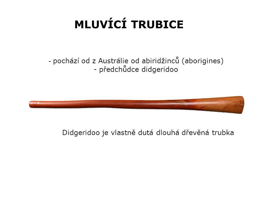 MLUVÍCÍ TRUBICE Didgeridoo je vlastně dutá dlouhá dřevěná trubka - pochází od z Austrálie od abiridžinců (aborigines) - předchůdce didgeridoo