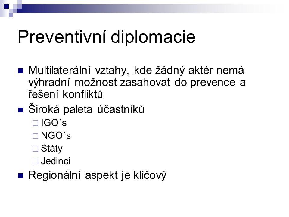 Preventivní diplomacie Multilaterální vztahy, kde žádný aktér nemá výhradní možnost zasahovat do prevence a řešení konfliktů Široká paleta účastníků 