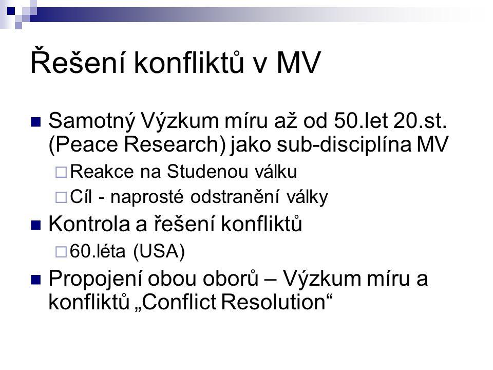 Řešení konfliktů v MV 1966 – založení Stockholm International Peace Research Institute (SIPRI)  První státní institut pro zkoumání míru a konfliktů  Každý rok – významná ročenka  Světové renomé 1970´s-rozmach institutů v západním světě