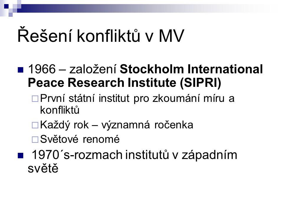 Řešení konfliktů v MV 1966 – založení Stockholm International Peace Research Institute (SIPRI)  První státní institut pro zkoumání míru a konfliktů 