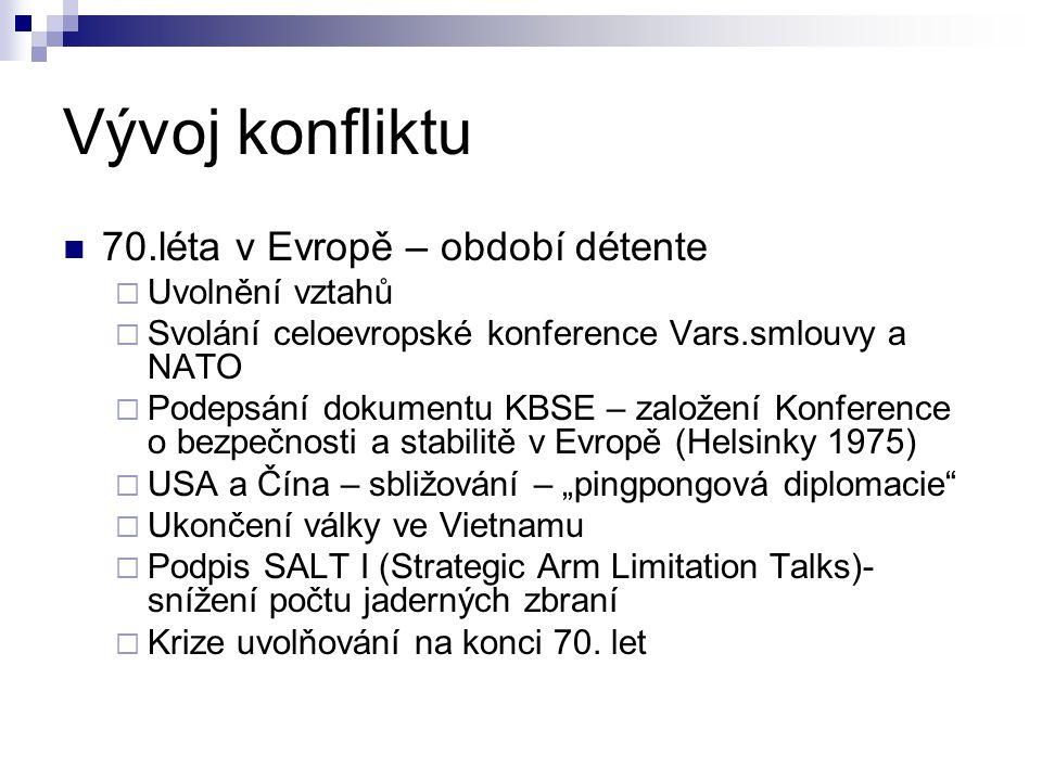 Vývoj konfliktu 70.léta v Evropě – období détente  Uvolnění vztahů  Svolání celoevropské konference Vars.smlouvy a NATO  Podepsání dokumentu KBSE –