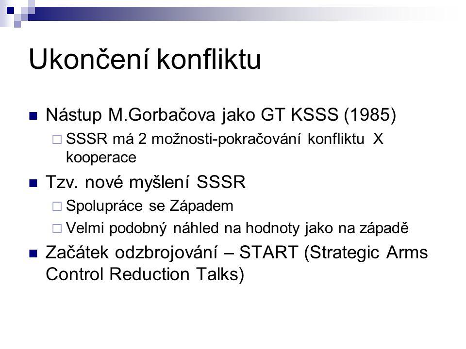 Ukončení konfliktu Nástup M.Gorbačova jako GT KSSS (1985)  SSSR má 2 možnosti-pokračování konfliktu X kooperace Tzv. nové myšlení SSSR  Spolupráce s