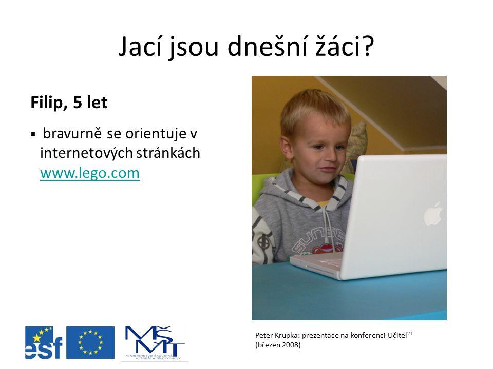 Jací jsou dnešní žáci? Peter Krupka: prezentace na konferenci Učitel 21 (březen 2008) Filip, 5 let  bravurně se orientuje v internetových stránkách w